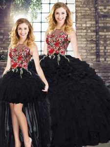 Black Ball Gowns Organza Scoop Sleeveless Embroidery and Ruffles Floor Length Zipper Vestidos de Quinceanera