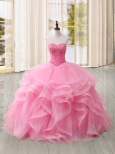 Pink Sleeveless Sweep Train Beading and Ruffles Quinceanera Gowns