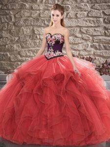 Fashion Red Sleeveless Floor Length Beading and Embroidery Lace Up Quince Ball Gowns
