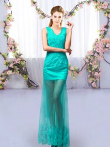 Decent Floor Length Lace Up Vestidos de Damas Turquoise for Prom and Party and Wedding Party with Lace