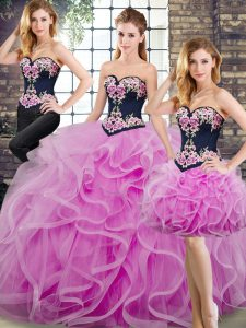Flare Lilac Sleeveless Sweep Train Beading and Embroidery and Ruffles Quinceanera Gown