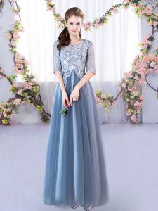 Cute Blue Scoop Neckline Lace Court Dresses for Sweet 16 Half Sleeves Lace Up