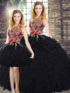 On Sale Black Sleeveless Embroidery and Ruffles Floor Length 15 Quinceanera Dress