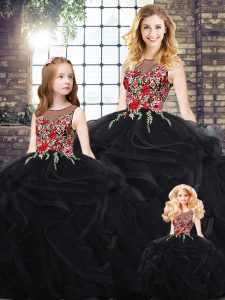 Designer Black Zipper Sweet 16 Dresses Sleeveless Floor Length Embroidery and Ruffles