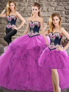 Tulle Sleeveless Floor Length Quinceanera Dress and Beading and Embroidery