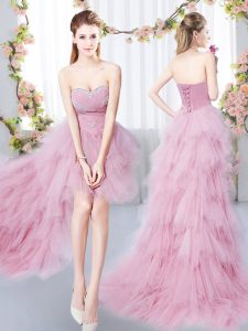 A-line Dama Dress Pink Sweetheart Tulle Sleeveless High Low Lace Up