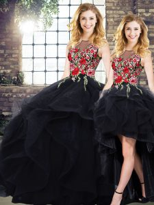 Colorful Black Sleeveless Floor Length Beading and Embroidery Lace Up Quince Ball Gowns