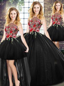 Colorful Floor Length Black Quinceanera Dresses Scoop Sleeveless Zipper