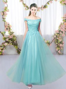 Clearance Aqua Blue Court Dresses for Sweet 16 Prom and Party and Wedding Party with Lace Off The Shoulder Sleeveless Lace Up