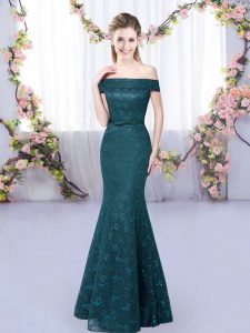 Off The Shoulder Sleeveless Quinceanera Dama Dress Floor Length Lace Peacock Green