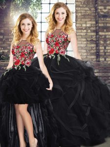 Glittering Scoop Sleeveless Quinceanera Gowns Floor Length Embroidery and Ruffles Black