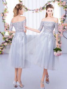 Great Half Sleeves Tulle Tea Length Zipper Court Dresses for Sweet 16 in Grey with Lace
