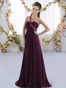 Hot Sale Dark Purple Sleeveless Brush Train Beading Court Dresses for Sweet 16