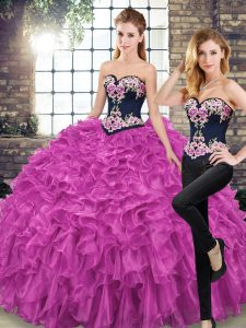 Affordable Fuchsia 15th Birthday Dress Military Ball and Sweet 16 and Quinceanera with Embroidery and Ruffles Sweetheart Sleeveless Sweep Train Lace Up