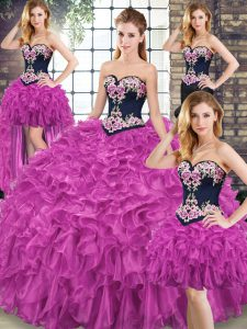 Fantastic Sleeveless Embroidery and Ruffles Lace Up Quinceanera Gown with Fuchsia Sweep Train