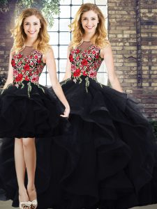 Comfortable Black Ball Gown Prom Dress Sweet 16 and Quinceanera with Beading and Embroidery Bateau Sleeveless Lace Up