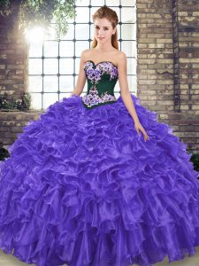 Sleeveless Embroidery and Ruffles Lace Up Quinceanera Dress with Purple Sweep Train