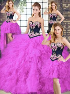 Luxury Fuchsia Sleeveless Floor Length Beading and Embroidery Lace Up Quinceanera Dresses