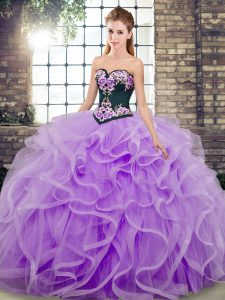 Adorable Lavender Lace Up Sweetheart Embroidery and Ruffles 15 Quinceanera Dress Tulle Sleeveless Sweep Train