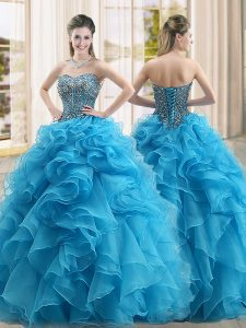 Exceptional Sleeveless Floor Length Beading and Ruffles Lace Up Sweet 16 Dress with Baby Blue