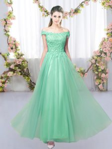 Cheap Apple Green Sleeveless Lace Floor Length Damas Dress