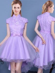 Smart Lavender A-line Tulle High-neck Short Sleeves Lace and Bowknot and Belt High Low Zipper Quinceanera Court of Honor Dress