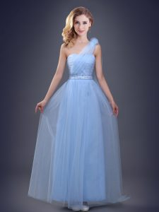 Extravagant One Shoulder Beading and Ruching and Hand Made Flower Quinceanera Court Dresses Light Blue Lace Up Sleeveless Floor Length