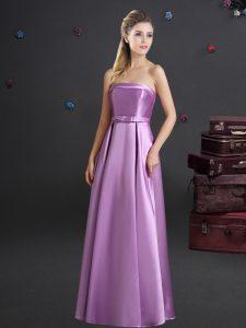 Lilac Empire Strapless Sleeveless Elastic Woven Satin Floor Length Zipper Bowknot Vestidos de Damas