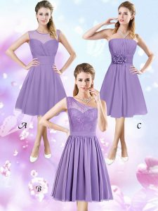 a18dece06ce2 Fancy Scoop Sleeveless Zipper Knee Length Lace and Ruching and Hand Made  Flower Quinceanera Dama Dress
