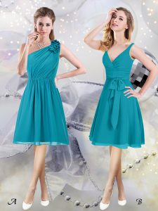 Deluxe One Shoulder Knee Length Teal Vestidos de Damas Chiffon Sleeveless Ruffles and Ruching and Belt
