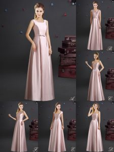 Square Floor Length Empire Sleeveless Pink Dama Dress Zipper