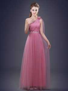 One Shoulder Pink Sleeveless Beading and Ruching and Hand Made Flower Floor Length Quinceanera Dama Dress