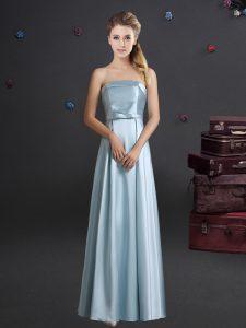 Fancy Light Blue Strapless Neckline Bowknot Quinceanera Court Dresses Sleeveless Zipper