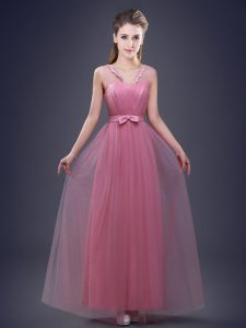 Pink V-neck Lace Up Appliques and Ruching and Bowknot Court Dresses for Sweet 16 Sleeveless