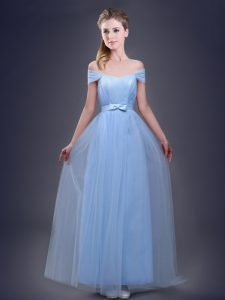 Best Light Blue Lace Up Off The Shoulder Ruching and Bowknot Quinceanera Court of Honor Dress Tulle Sleeveless