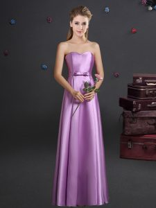 Floor Length Zipper Dama Dress Lilac for Prom and Party and Wedding Party with Bowknot