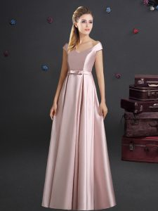 Popular Pink Dama Dress for Quinceanera Prom and Party and Wedding Party and For with Bowknot Off The Shoulder Cap Sleeves Zipper