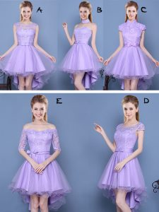 Taffeta and Tulle Sweetheart Sleeveless Lace Up Lace and Bowknot Dama Dress in Lavender
