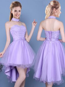 Exquisite Sleeveless High Low Lace and Bowknot Lace Up Dama Dress with Lavender