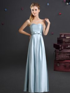 Hot Sale Floor Length Zipper Quinceanera Dama Dress Light Blue for Prom and Party and Wedding Party with Bowknot