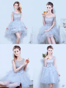 Ruffled Scoop Sleeveless Lace Up Court Dresses for Sweet 16 Grey Organza