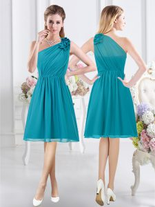 New Arrival One Shoulder Sleeveless Side Zipper Damas Dress Teal Chiffon