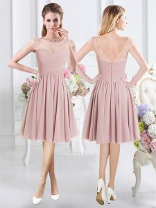 Scoop Pink Chiffon Zipper Court Dresses for Sweet 16 Cap Sleeves Knee Length Lace and Ruching