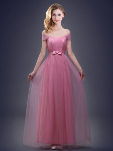 Off the Shoulder Sleeveless Floor Length Ruching and Bowknot Lace Up Dama Dress with Pink