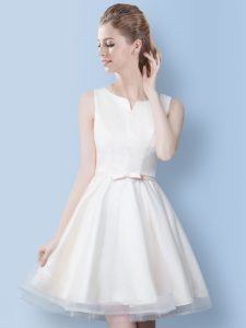 Fashion Scoop Sleeveless Bowknot Lace Up Quinceanera Court Dresses