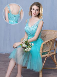 Fashionable Aqua Blue Sleeveless Knee Length Lace and Appliques and Bowknot Lace Up Quinceanera Court Dresses