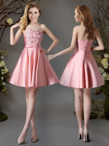 Nice Strapless Sleeveless Lace Up Damas Dress Pink Satin