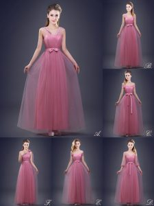 Graceful Tulle V-neck Sleeveless Lace Up Beading and Appliques and Ruching and Bowknot and Hand Made Flower Dama Dress for Quinceanera in Pink