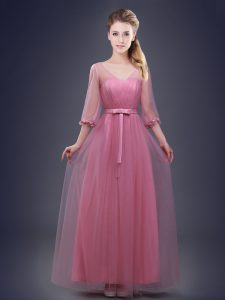 Pink V-neck Lace Up Ruching and Bowknot Court Dresses for Sweet 16 Half Sleeves