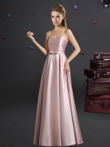 Pink Empire Sweetheart Sleeveless Elastic Woven Satin Floor Length Zipper Bowknot Vestidos de Damas